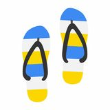 Beach slippers icon in flat style  on white background. Vector Illustration Stock Image