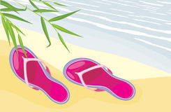 Beach slippers lying on the sand. Illustration royalty free illustration
