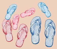 Beach slippers of one family on the seashore. Vector image of the beach slippers for one family stock illustration
