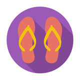 Beach slippers. Single flat color icon. Vector illustration stock illustration