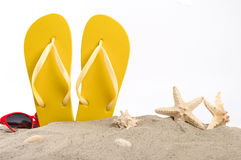 Beach slippers with sunglasses, shells and starfish in the sand Stock Photography