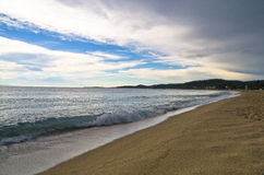 Beach at small greek village Toroni after summer storm in Sithonia Royalty Free Stock Image