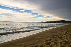 Beach at small greek village Toroni after summer storm in Sithonia Stock Photography