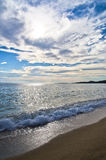Beach at small greek village Toroni after summer storm in Sithonia Stock Image