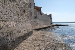 Beach in the small idyllic city Novigrad located on the west coast of Istria peninsula, Croatia.  stock image