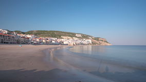 Beach at Small town of Sesimbra, Portugal stock footage