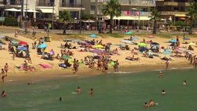 Beach at the small village Sant Antoni de Calonge (Costa Brava) in Spain stock video