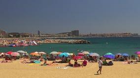 Beach at the small village Sant Antoni de Calonge Costa Brava in Spain in a sunny summer day stock video