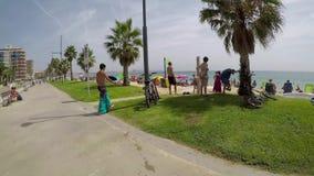 Beach at the small village Sant Antoni de Calonge Costa Brava in Spain in a sunny summer day, August 03, 2017, village Sant Anto stock footage