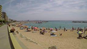 Beach at the small village Sant Antoni de Calonge Costa Brava in Spain in a sunny summer day, August 03, 2017, village Sant Anto stock video