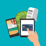 Beach smartphone bills credit card tablet Royalty Free Stock Images