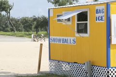 Beach Snack Shop. A snack shop on the beach sells snow cones, snowballs, ice and other drinks Stock Images