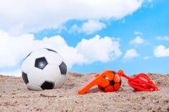 Beach soccer against a blue sky Stock Photo