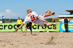 Beach soccer bicycle kick Royalty Free Stock Photo