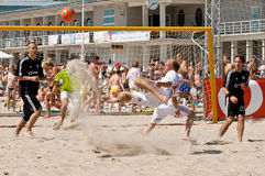Beach soccer bicycle kick Stock Image