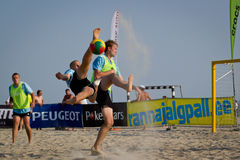 Beach soccer bicycle kick Stock Photography