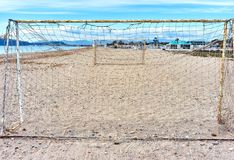 Beach soccer. Doors, view from behind Royalty Free Stock Photography