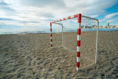 Beach soccer equipment Royalty Free Stock Images