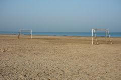 Beach soccer field with no people in the middle east. royalty free stock photos