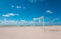 Beach Soccer/Football. Photo of sunny beach with footbal/soccer gate Stock Image