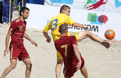 Beach soccer game between Ukraine and Russia Royalty Free Stock Images