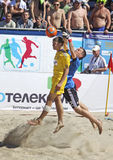 Beach soccer game between Ukraine and Russia Royalty Free Stock Photos