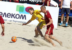 Beach soccer game between Ukraine and Russia Royalty Free Stock Photography