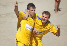 Beach soccer game between Ukraine and Russia Royalty Free Stock Image