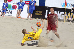 Beach soccer game between Ukraine and Russia Stock Images