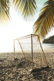 Beach soccer goal at sunset stock photography
