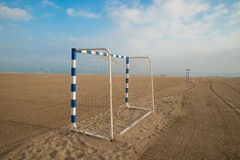 Beach soccer goals Stock Image