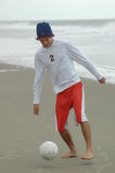 Beach soccer playing Royalty Free Stock Photos