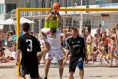 Beach soccer save Stock Photo