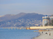 Beach in Sochi, Krasnodar krai, winter landscape Royalty Free Stock Photo