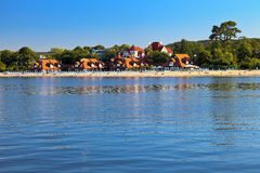 Beach in Sopot. The view from the pier to the beach in Sopot, Poland Royalty Free Stock Photo