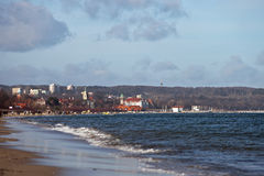 Beach in Sopot. Winter panorama of the beach in Sopot, Poland Royalty Free Stock Photography