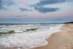 Beach in Sopot. Sunset over Baltic Sea beach in Karlikowo District in Sopot, Poland Stock Photos