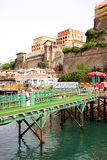 Beach Sorrento Italy. Beach Pontoon in Sorrento in the Amalfi Coast in Italy royalty free stock image