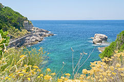 Beach in Sorrento, Mediterranean Sea, Italy. Beach in Sorrento Peninsula, Mediterranean Sea, Italy stock photography