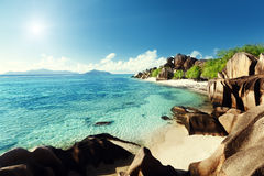 Beach Source d'Argent, la Digue island Royalty Free Stock Image