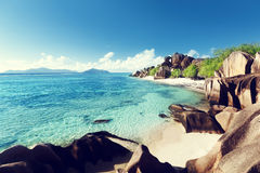 Beach Source d'Argent, la Digue island Stock Images