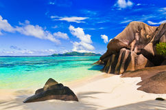 Beach Source d'Argent at Seychelles Stock Photos