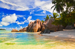 Beach Source d'Argent at Seychelles Royalty Free Stock Images