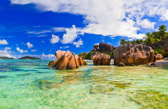 Beach Source d'Argent at Seychelles Stock Photo