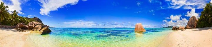 Beach Source d'Argent at Seychelles stock images