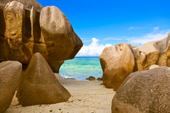 Beach Source d'Argent at Seychelles Royalty Free Stock Photography
