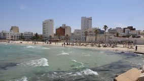 Beach in Sousse, Tunisia. Buildings near beach in Sousse, Tunisia stock video footage