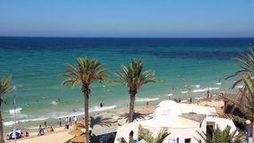Beach in Sousse, Tunisia. People on the beach stock video