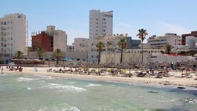 Beach in Sousse, Tunisia. White buildings by beach in Sousse, Tunisia stock footage