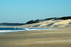 Beach South Africa. A beautiful South African lonely beach with big sand dunes in front of the blue sea Stock Photography